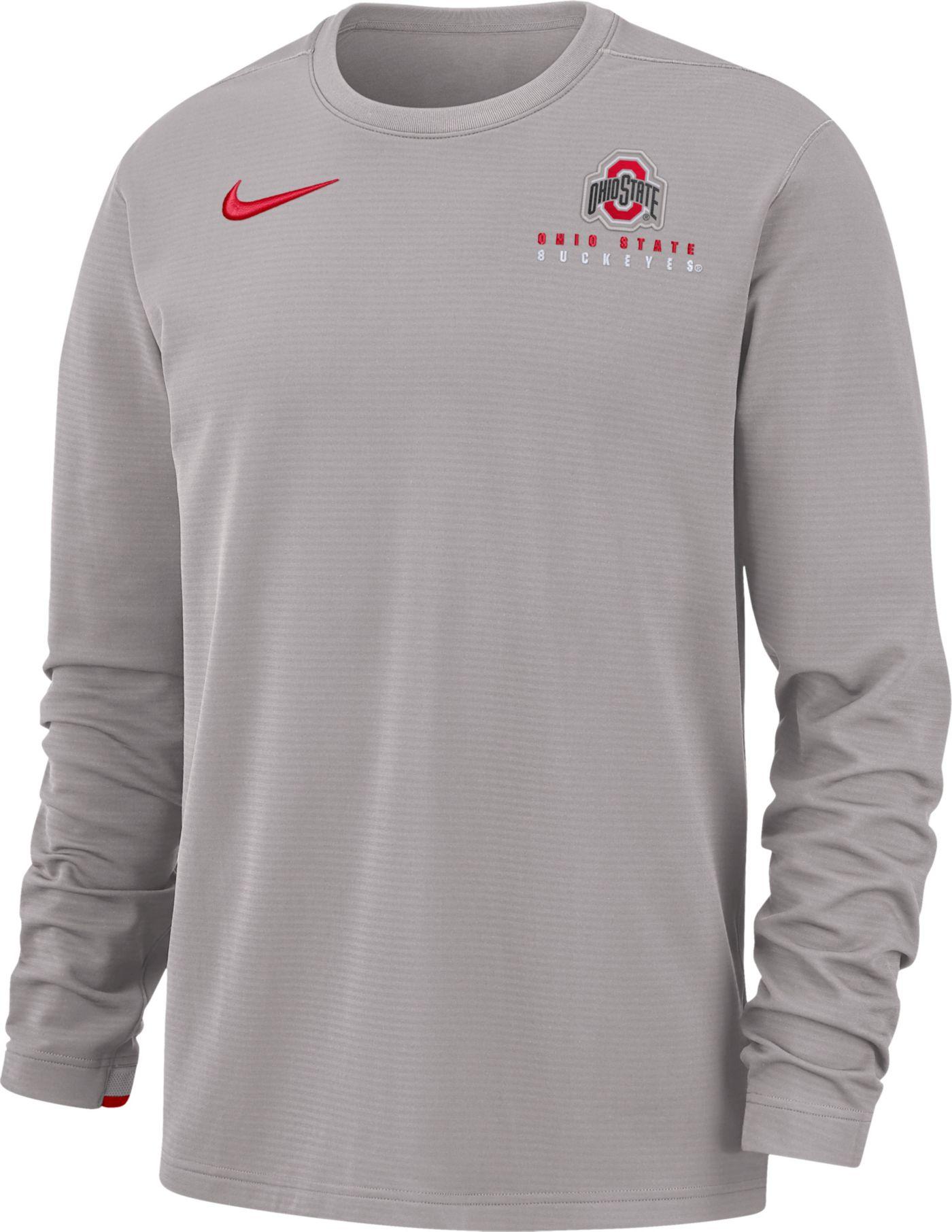 Nike Men's Ohio State Buckeyes Grey Dri-FIT Modern Long Sleeve Crew Neck T-Shirt