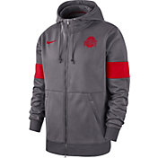 Nike Men's Ohio State Buckeyes Grey Therma Football Sideline Full-Zip Hoodie