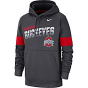 Nike Men's Ohio State Buckeyes Gray Therma Football Sideline Pullover Hoodie