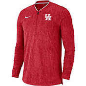 Nike Men's Houston Cougars Red Coach Half-Zip Football Sideline Jacket