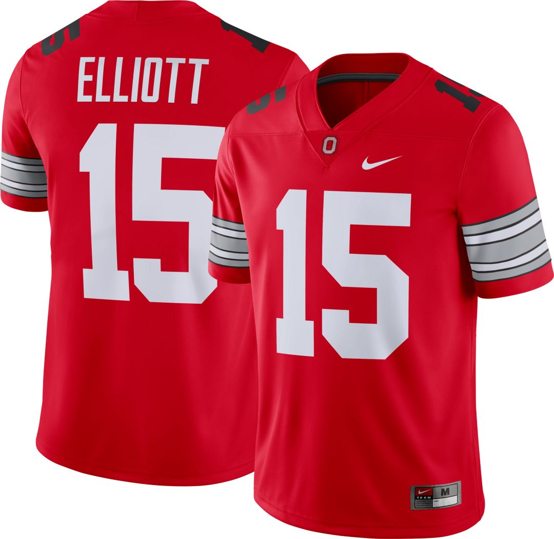 brand new fd8cf aef61 Nike Men's Ezekiel Elliott Ohio State Buckeyes #15 Scarlet Dri-FIT Game  Football Jersey