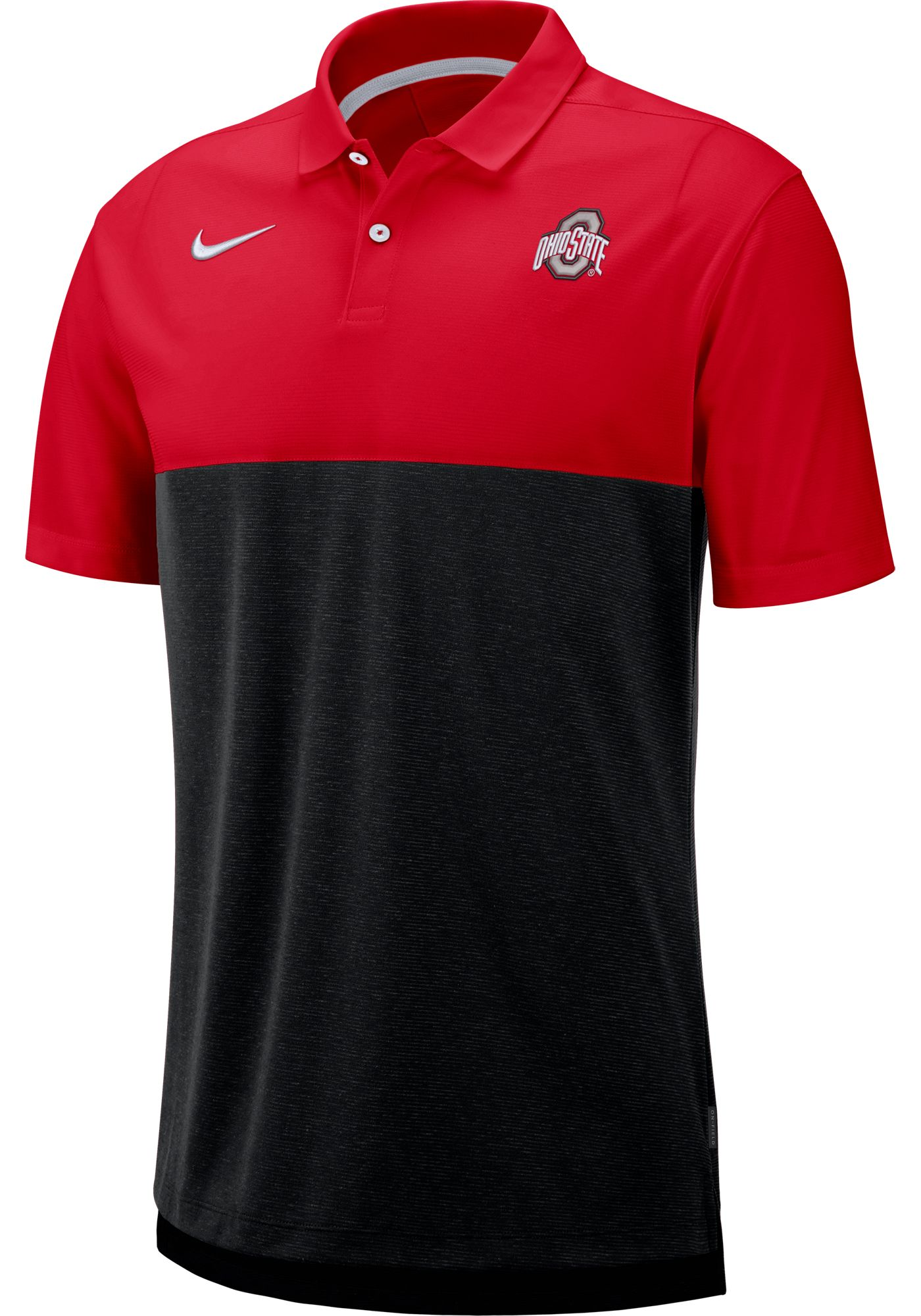 Nike Men's Ohio State Buckeyes Scarlet/Black Dri-FIT Breathe Football Sideline Polo