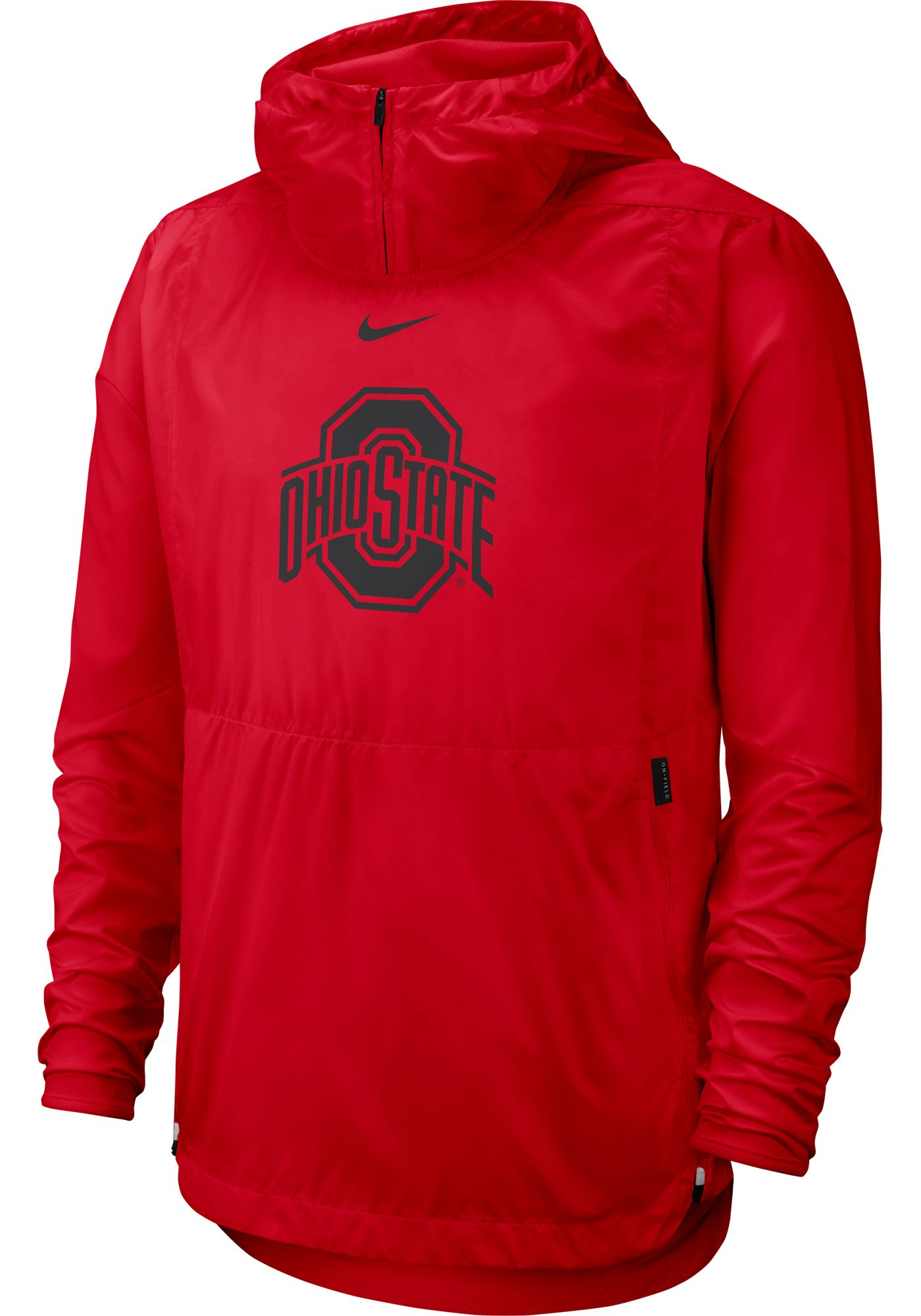 Nike Men's Ohio State Buckeyes Scarlet Repel Football Sideline Player Pullover Hoodie