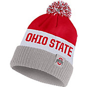 Nike Men's Ohio State Buckeyes Scarlet/White/Gray Striped Cuffed Pom Beanie