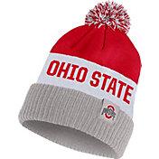Nike Men's Ohio State Buckeyes Scarlet/White/Gray Striped Cuffed Pom Beanie