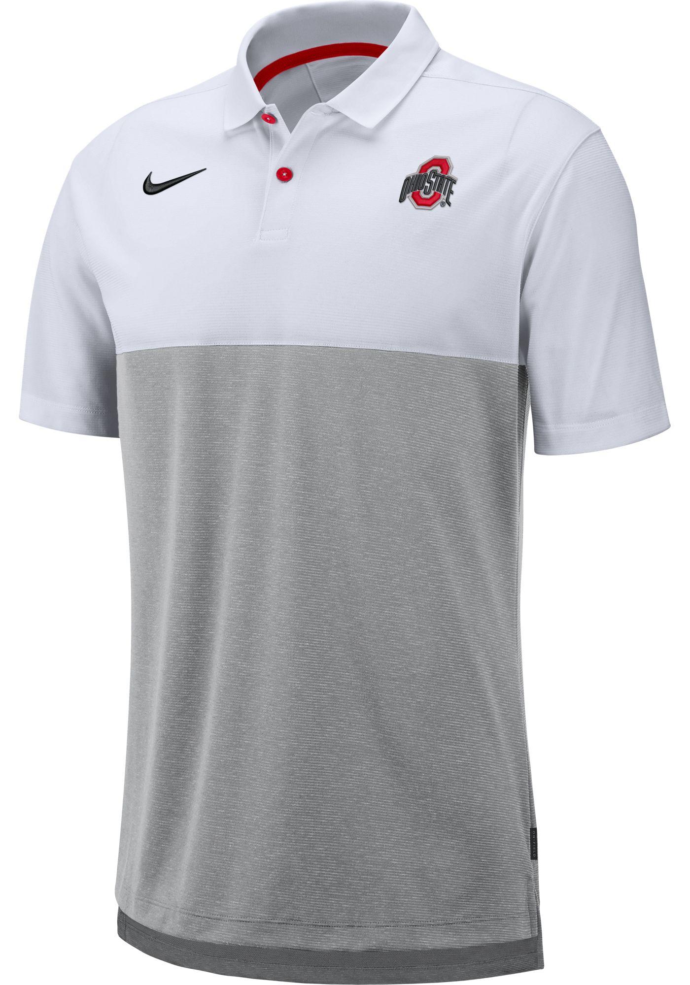 Nike Men's Ohio State Buckeyes White/Gray Dri-FIT Breathe Football Sideline Polo