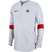 Nike Men's Ohio State Buckeyes Lockdown Half-Zip Football White Jacket