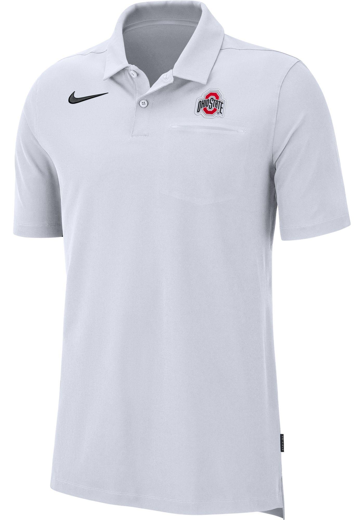 Nike Men's Ohio State Buckeyes Dri-FIT Elite Football Sideline White Polo