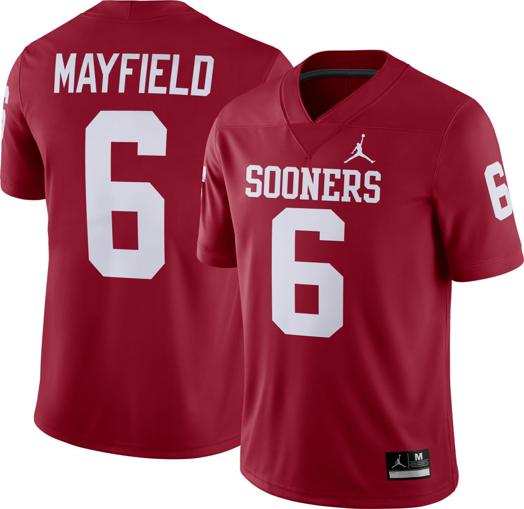 big sale 47af8 10129 Jordan Men's Baker Mayfield Oklahoma Sooners #6 Crimson Dri-FIT Game  Football Jersey