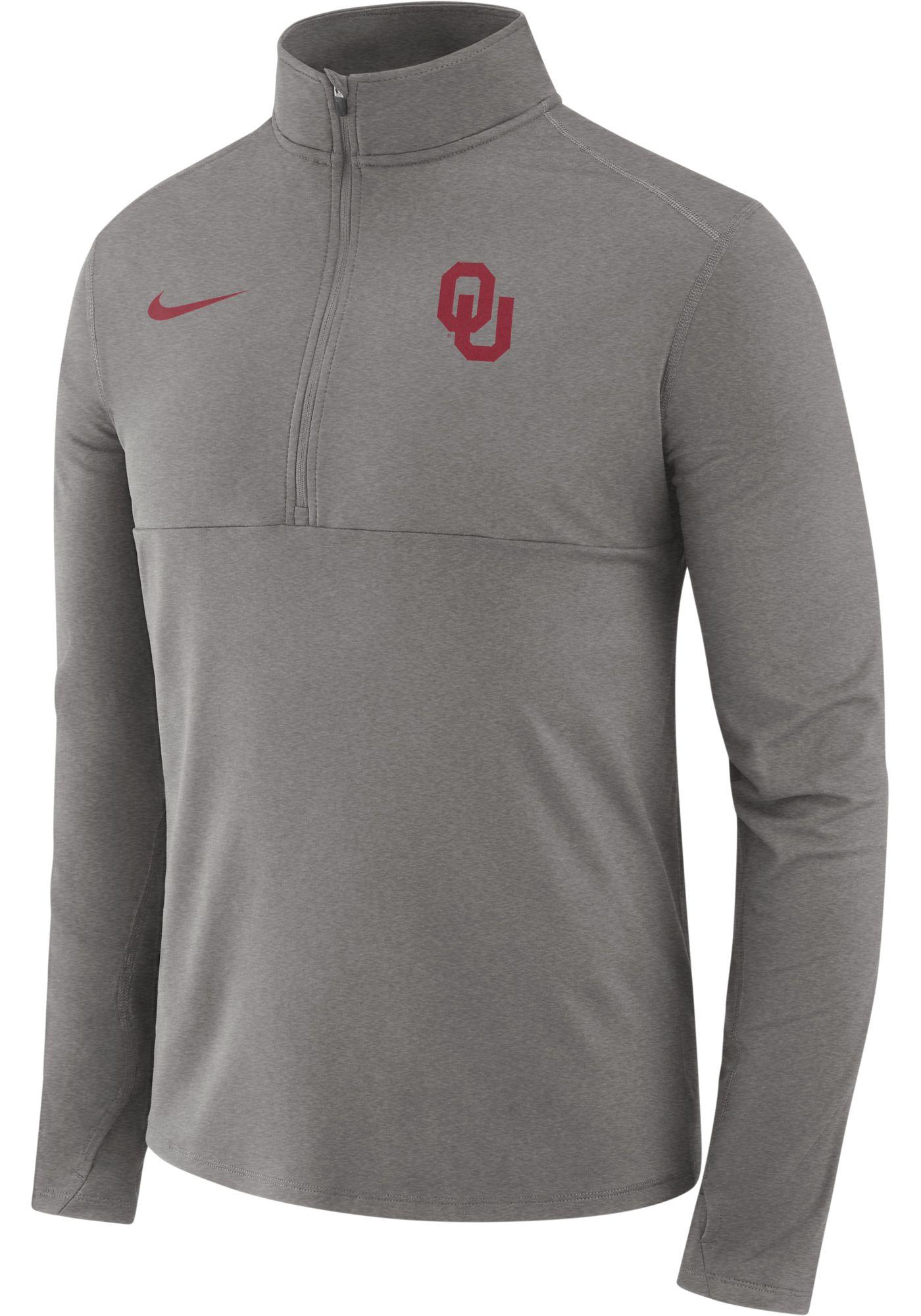Nike Men's Oklahoma Sooners Grey Long Sleeve Core Half-Zip Shirt