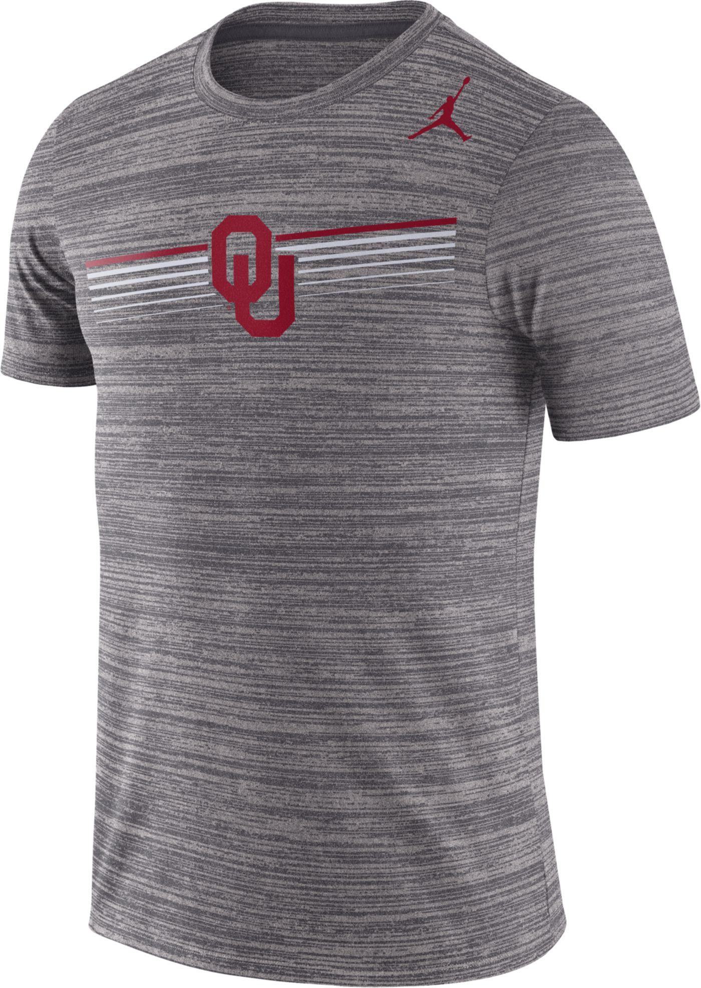 Jordan Men's Oklahoma Sooners Grey Velocity Legend Graphic T-Shirt