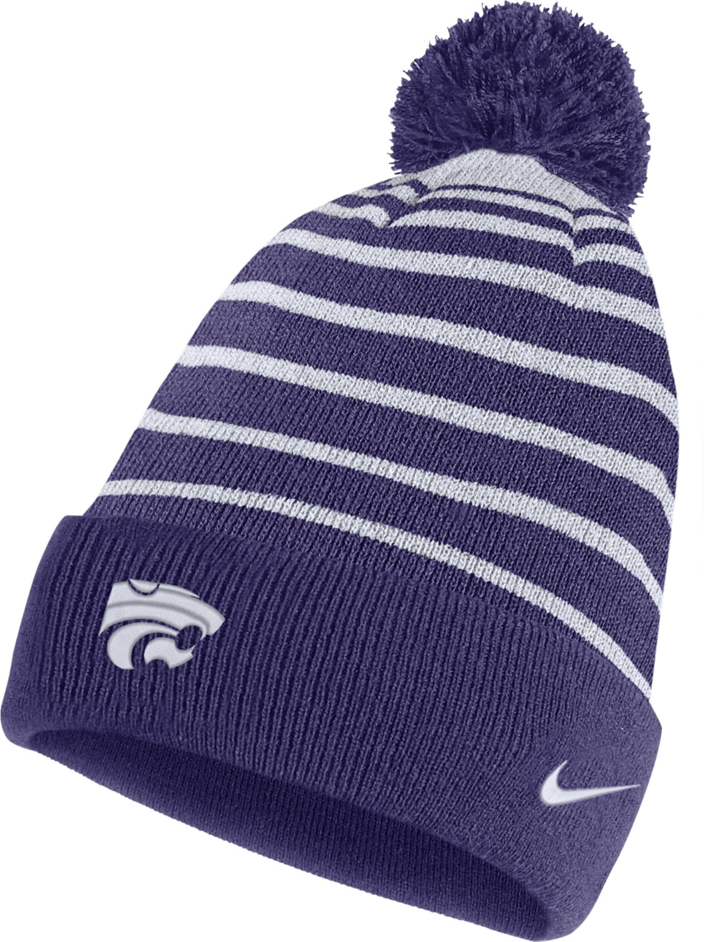 Nike Men's Kansas State Wildcats Purple Football Sideline Cuffed Pom Beanie
