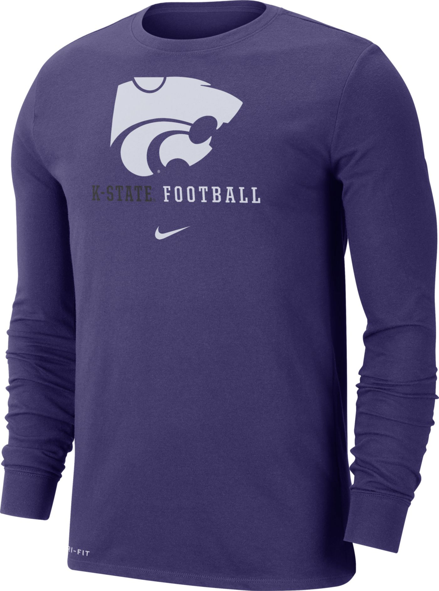 Nike Men's Kansas State Wildcats Purple Football Icon Wordmark Long Sleeve T-Shirt