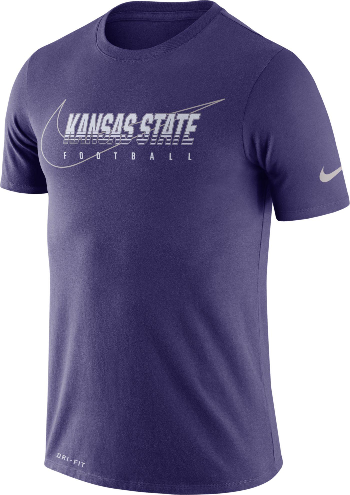 Nike Men's Kansas State Wildcats Purple Football Dri-FIT Cotton Facility T-Shirt
