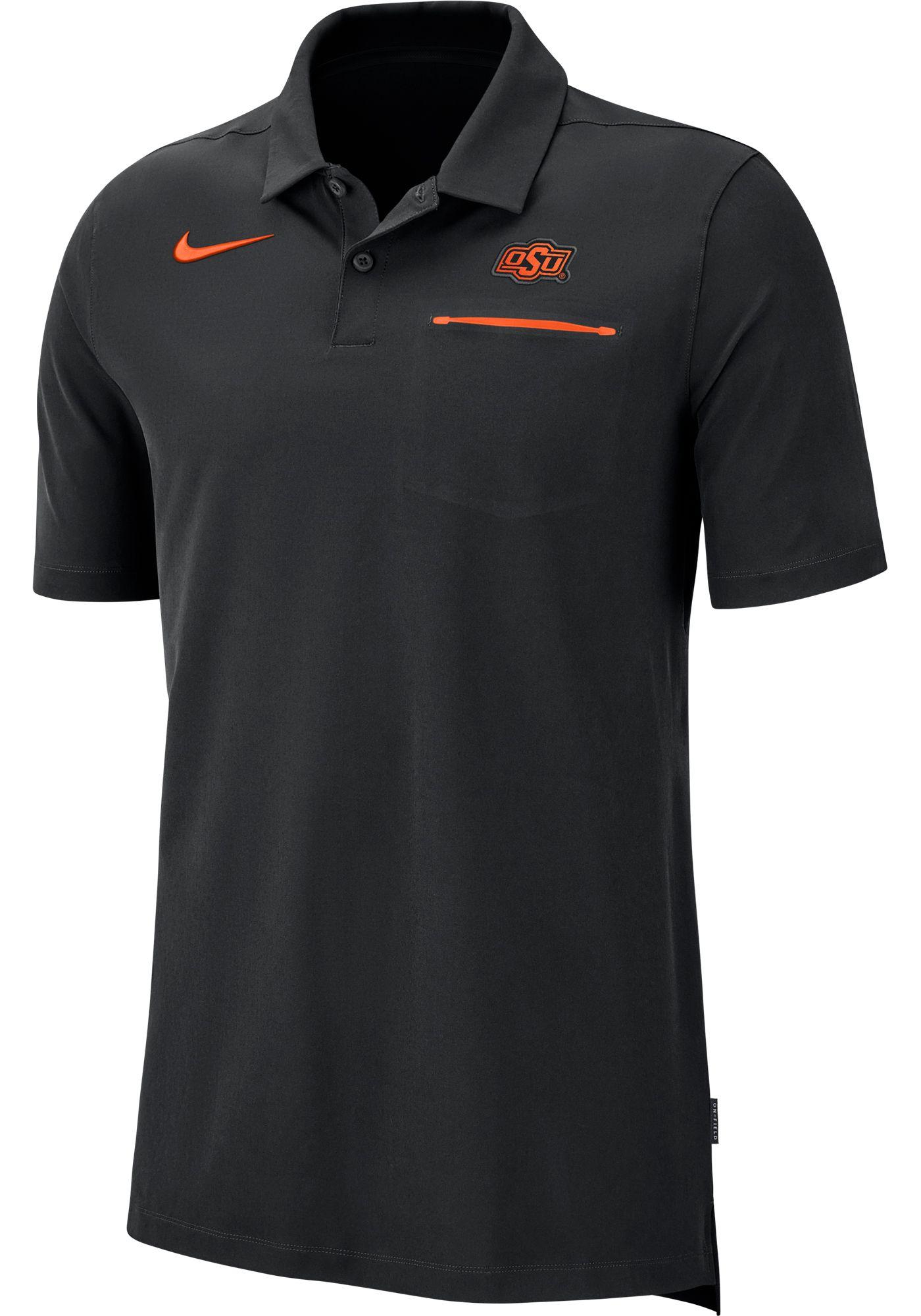 Nike Men's Oklahoma State Cowboys Dri-FIT Elite Football Sideline Black Polo