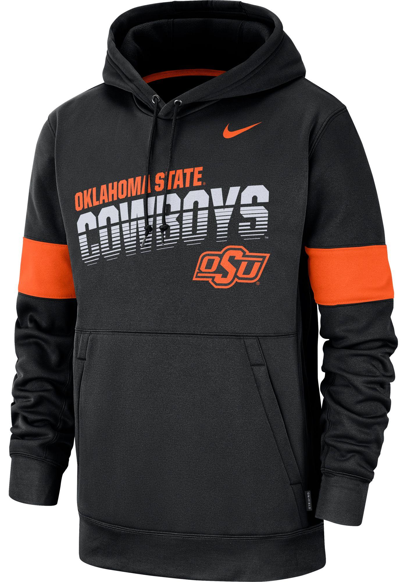 Nike Men's Oklahoma State Cowboys Therma Football Sideline Pullover Black Hoodie