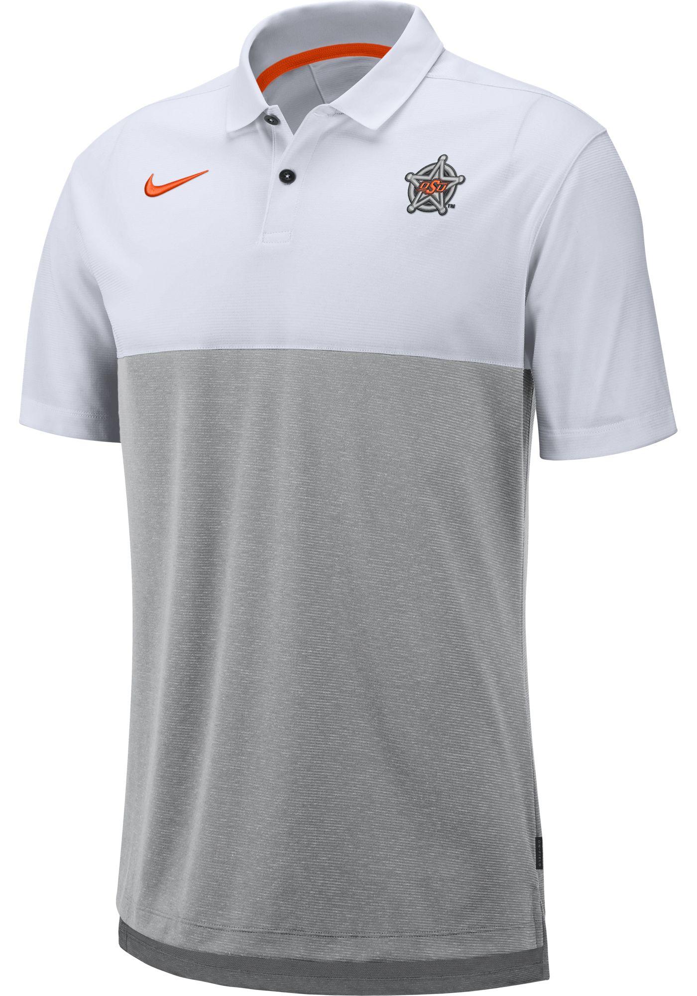 Nike Men's Oklahoma State Cowboys White/Grey Dri-FIT Breathe Football Sideline Polo