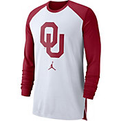 Jordan Men's Oklahoma Sooners White/Crimson Breathe Long Sleeve Shirt