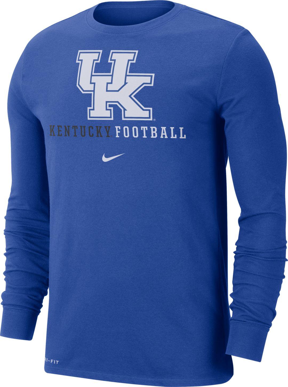 watch aa62c a2cab Nike Men's Kentucky Wildcats Blue Football Icon Wordmark Long Sleeve T-Shirt