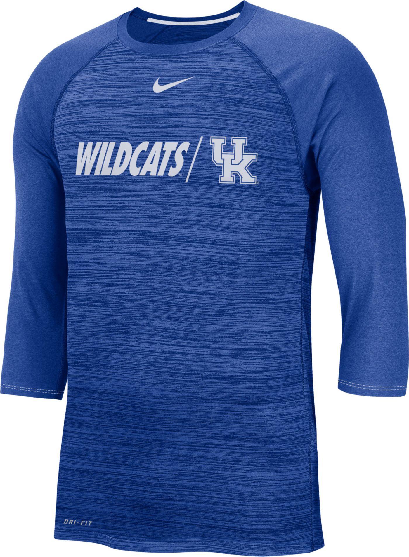 Nike Men's Kentucky Wildcats Blue Dry Legend 3/4 Sleeve T-Shirt