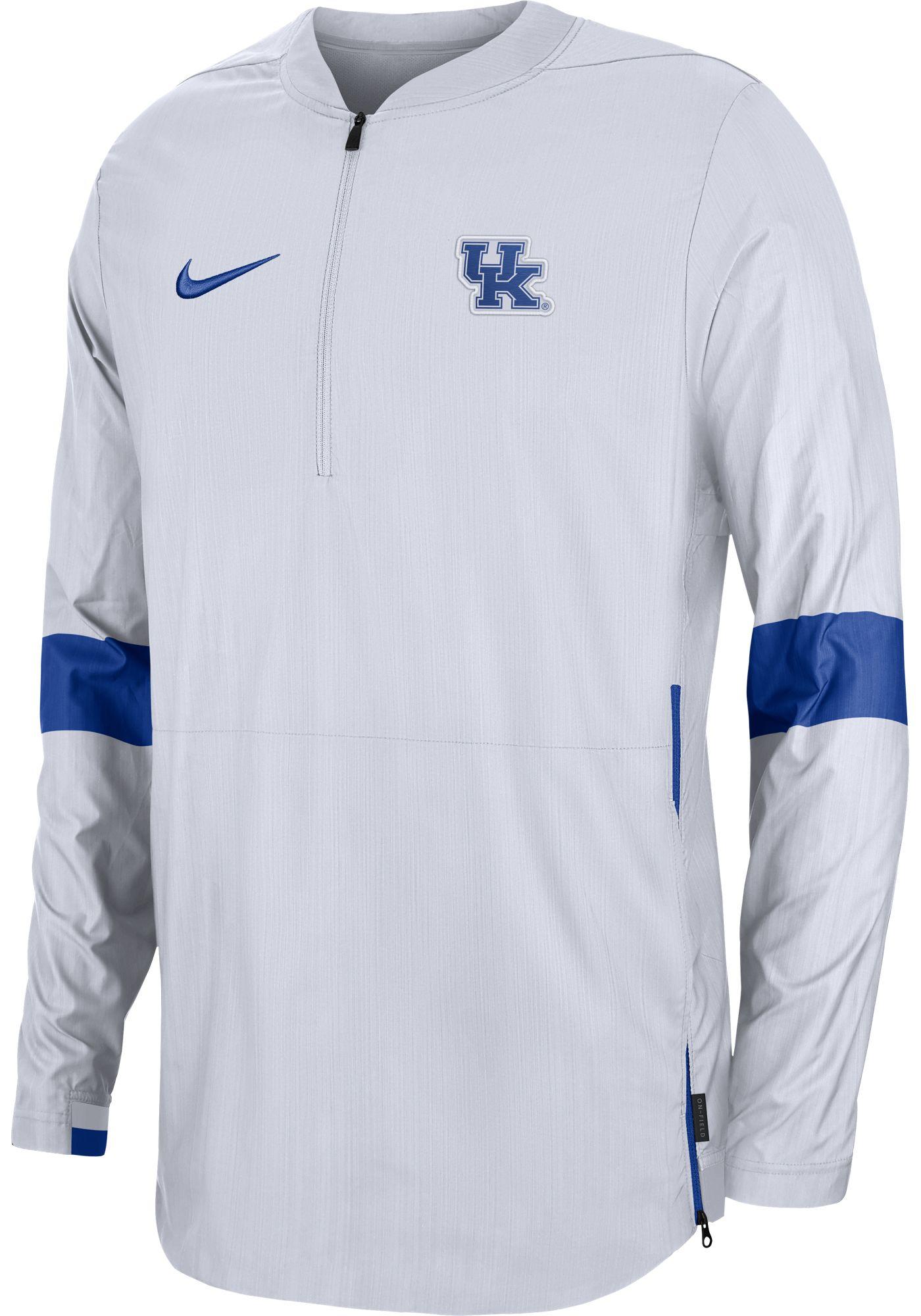 Nike Men's Kentucky Wildcats Lockdown Half-Zip Football White Jacket