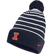Nike Men's Illinois Fighting Illini Blue Football Sideline Cuffed Pom Beanie