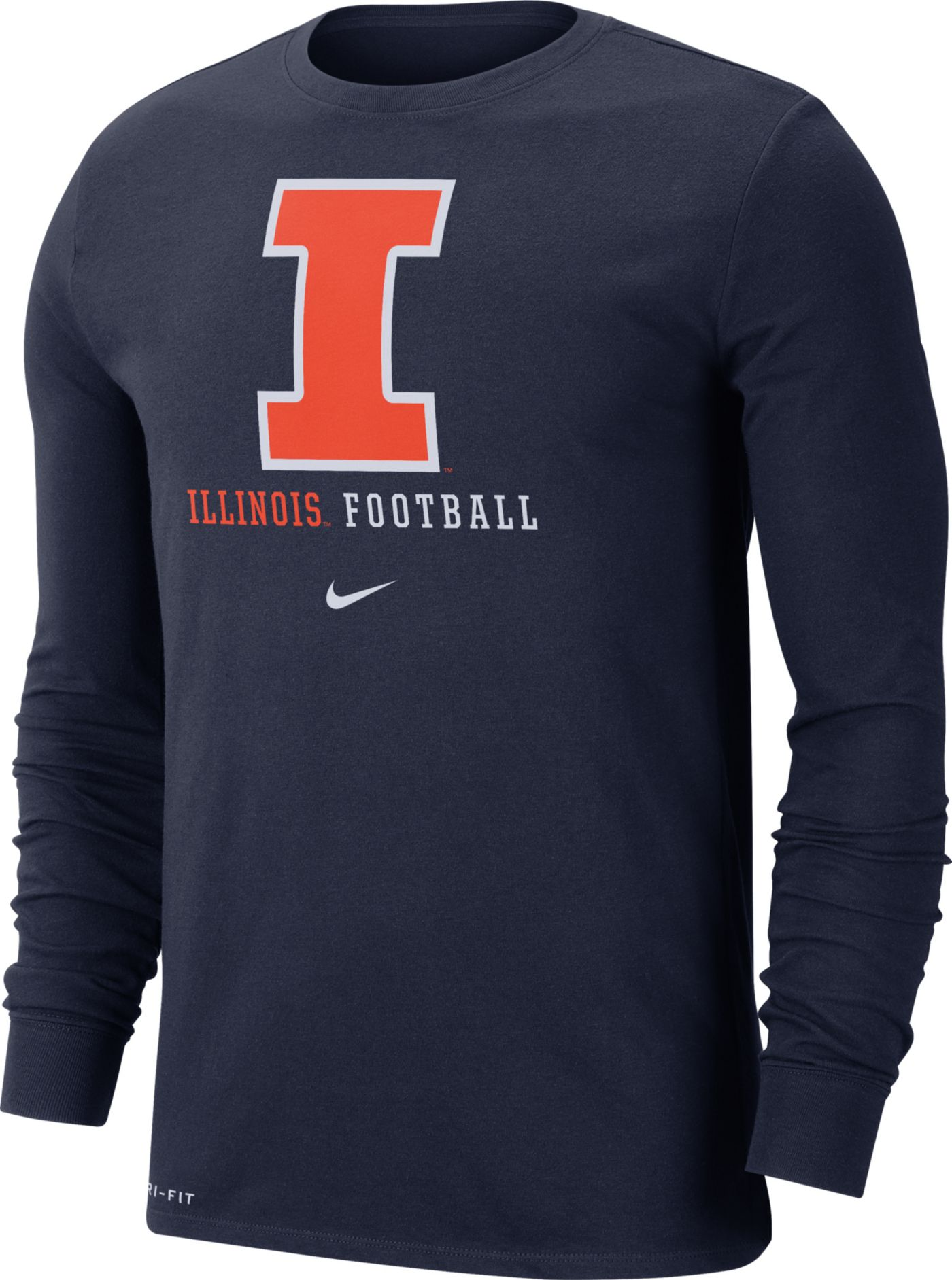 Nike Men's Illinois Fighting Illini Blue Football Icon Wordmark Long Sleeve T-Shirt
