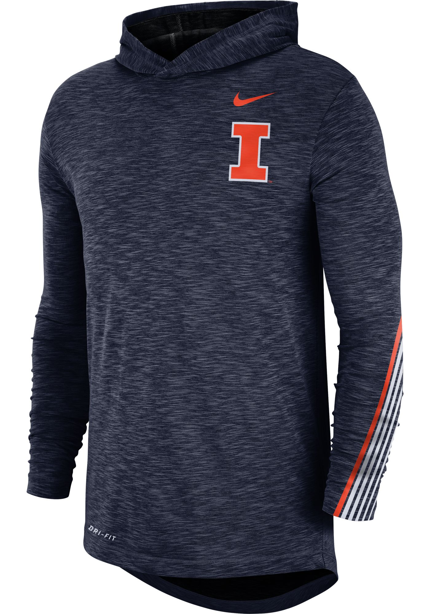 Nike Men's Illinois Fighting Illini Blue Cotton Long Sleeve Hoodie T-Shirt