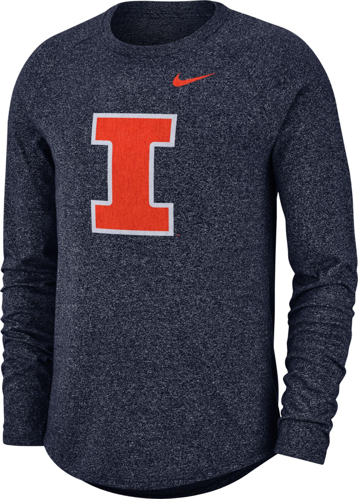 Nike Men's Illinois Fighting Illini Blue Marled Raglan Long Sleeve T-Shirt