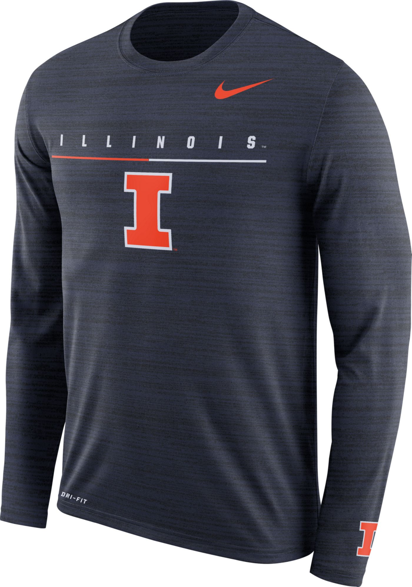 Nike Men's Illinois Fighting Illini Blue Velocity Legend Graphic Long Sleeve T-Shirt