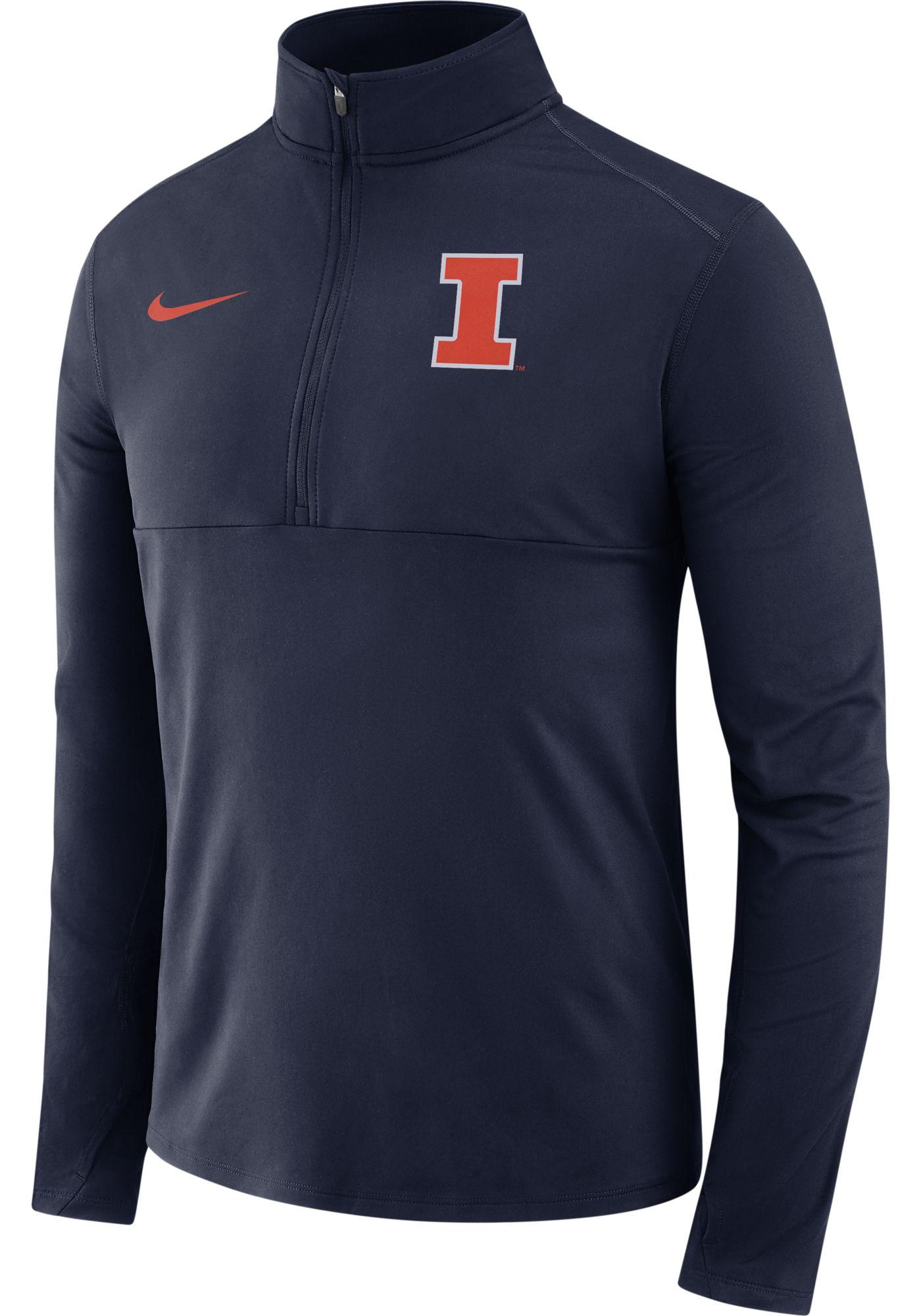 Nike Men's Illinois Fighting Illini Blue Long Sleeve Core Half-Zip Shirt