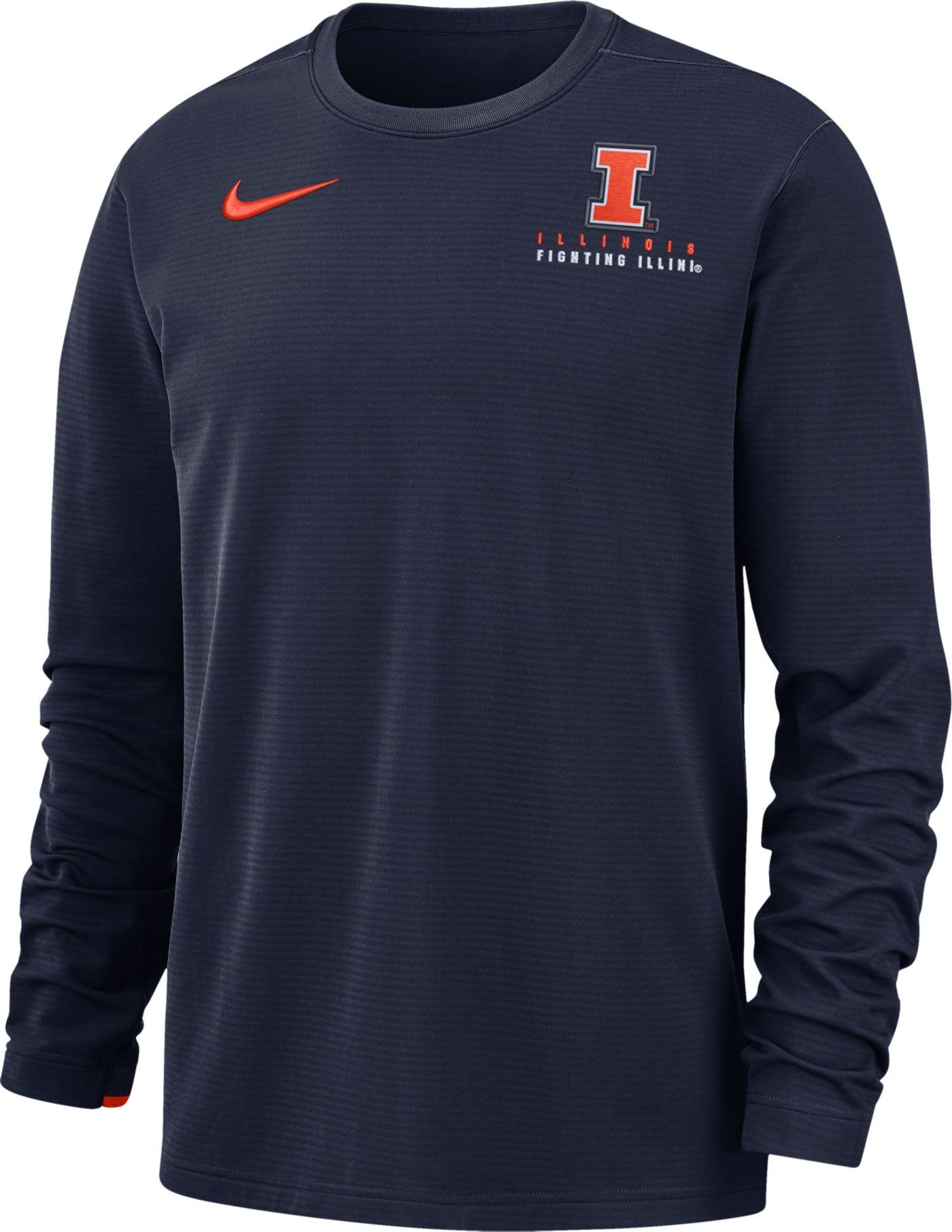 Nike Men's Illinois Fighting Illini Blue Dri-FIT Modern Long Sleeve Crew Neck T-Shirt