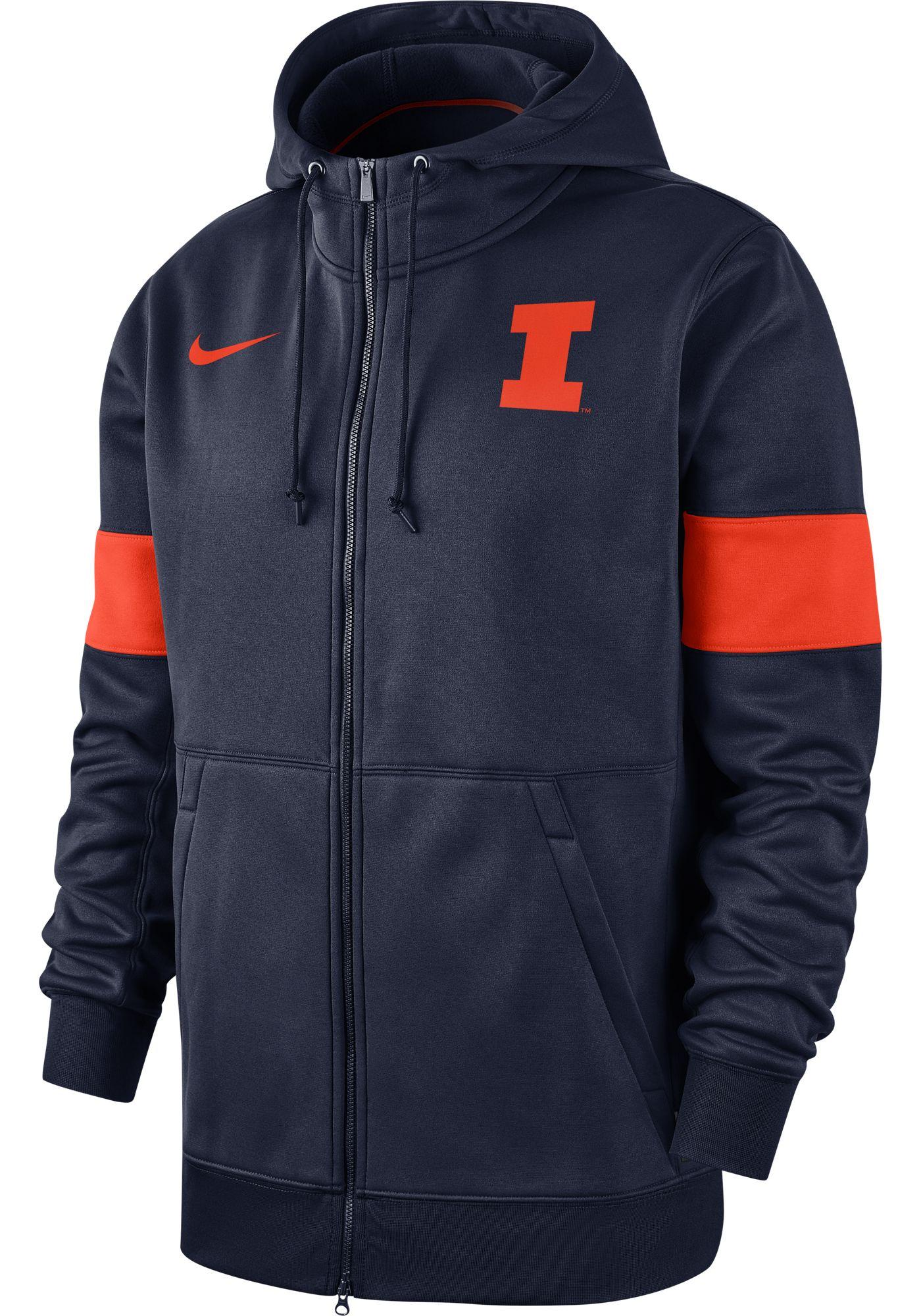 Nike Men's Illinois Fighting Illini Blue Therma Football Sideline Full-Zip Hoodie