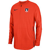 Nike Men's Illinois Fighting Illini Orange Lockdown Football Quarter-Zip Jacket