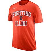 Nike Men's Illinois Fighting Illini Orange Retro Logo Basketball T-Shirt