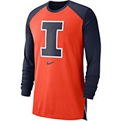 Nike Men's Illinois Fighting Illini Orange/Blue Breathe Long Sleeve Shirt