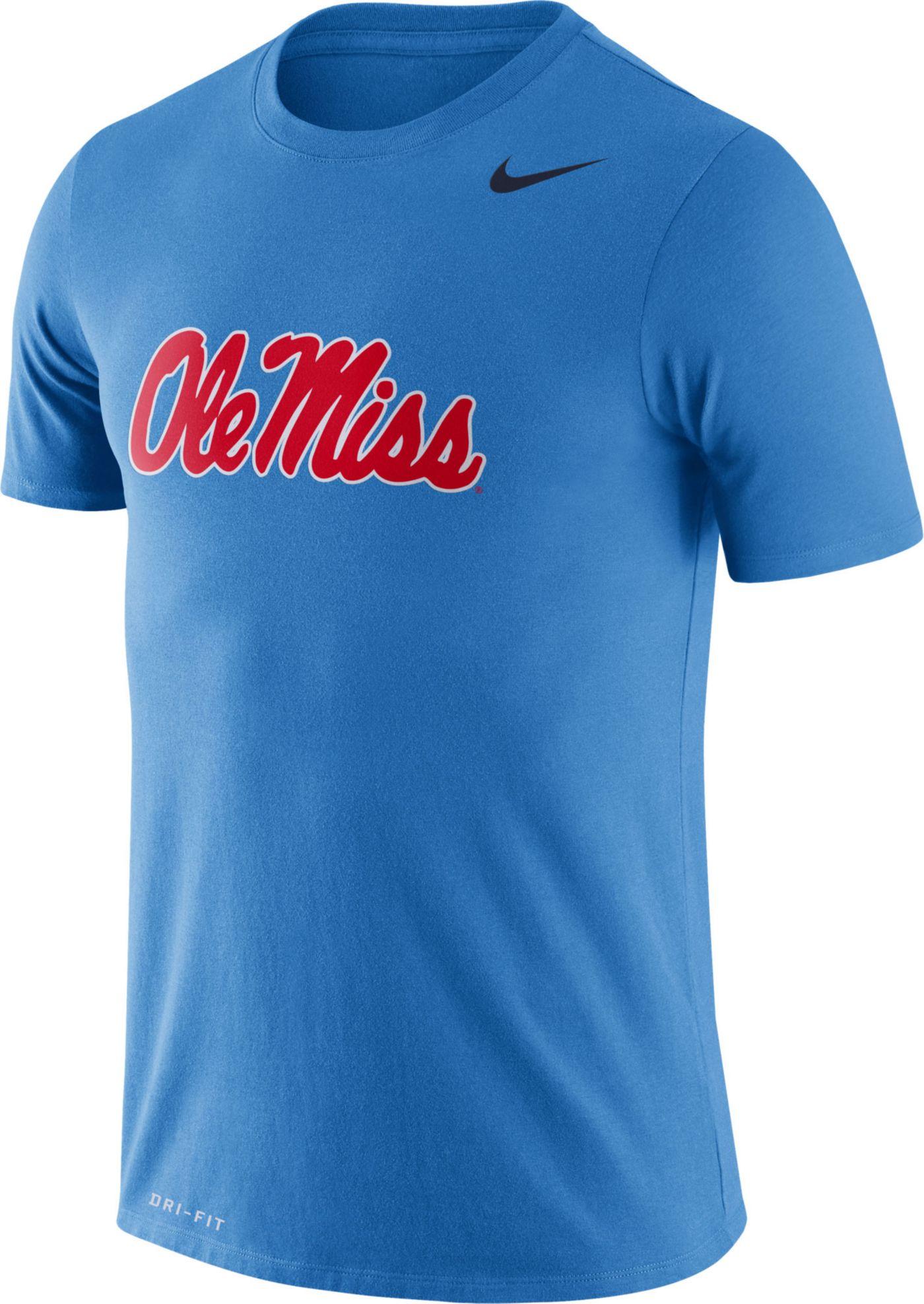 Nike Men's Ole Miss Rebels Blue Logo Dry Legend T-Shirt