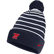 Nike Men's Ole Miss Rebels Blue Football Sideline Cuffed Pom Beanie