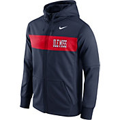 Nike Men's Ole Miss Rebels Blue Therma-FIT Full-Zip Sideline Hoodie