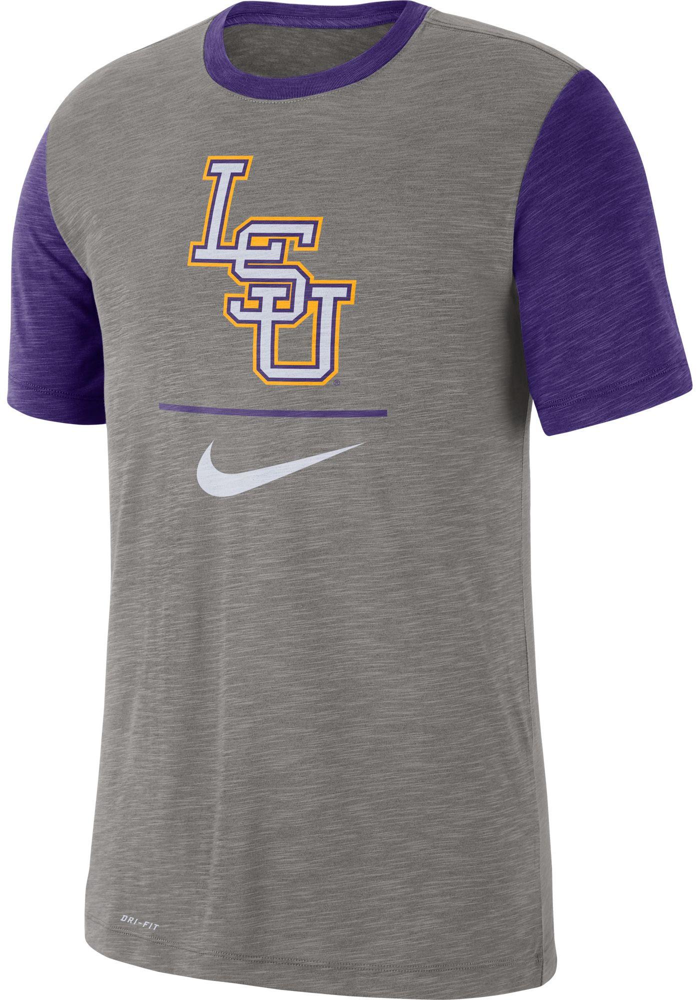 Nike Men's LSU Tigers Grey Dri-FIT Baseball Slub T-Shirt