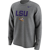Nike Men's LSU Tigers Grey Lockup Long Sleeve Shirt