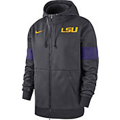 Nike Men's LSU Tigers Purple Therma Football Sideline Full-Zip Hoodie