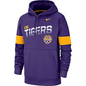 Nike Men's LSU Tigers Grey Therma Football Sideline Pullover Hoodie