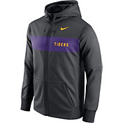 Nike Men's LSU Tigers Anthracite Therma-FIT Full-Zip Sideline Hoodie