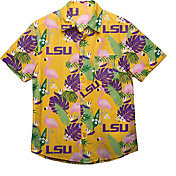 FOCO Men's LSU Tigers Purple Floral Button-Up Shirt