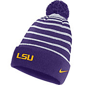 Nike Men's LSU Tigers Purple Football Sideline Cuffed Pom Beanie