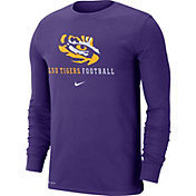 Nike Men's LSU Tigers Purple Football Icon Wordmark Long Sleeve T-Shirt