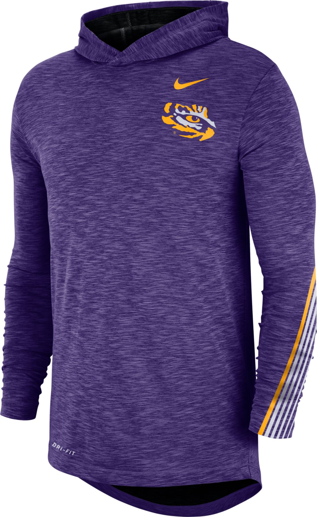 Nike Men's LSU Tigers Purple Cotton Long Sleeve Hoodie T Shirt