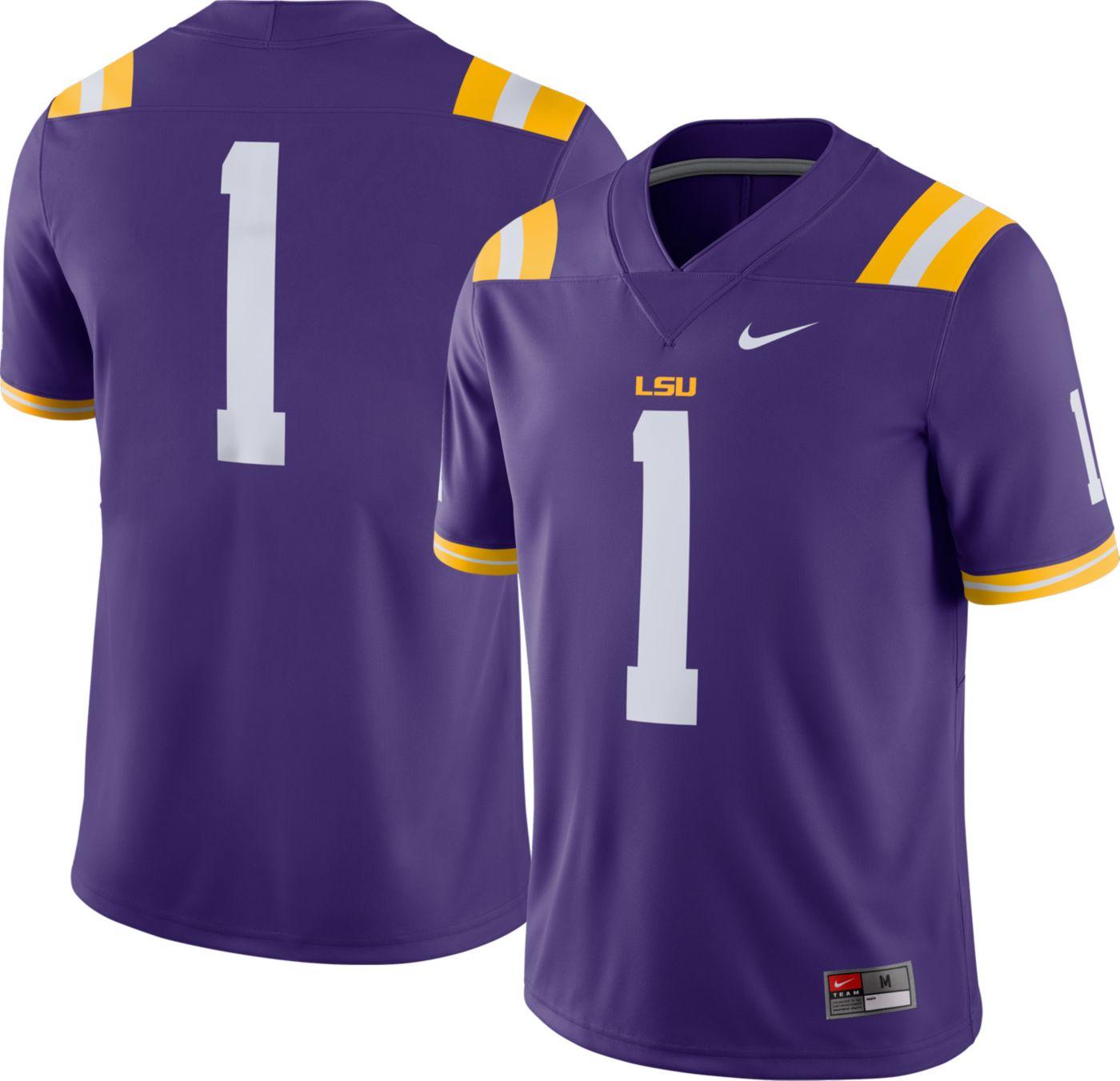 Nike Men's LSU Tigers #1 Purple Dri-FIT Game Football Jersey