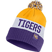 Nike Men's LSU Tigers Gold/White/Purple Striped Cuffed Pom Beanie